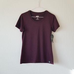 NEW REI Burgundy Short Sleeve Tee Shirt